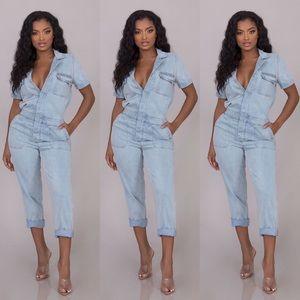 Pants - Rylee Denim Jumpsuit-Denim Blue